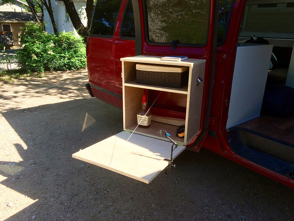 DIY In Door Cabinet Outside Table For Any Campervan